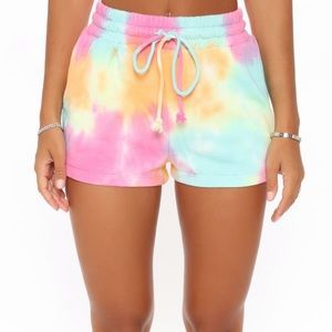 Fashion Nova Tie Dye Shorts pockets fleece string